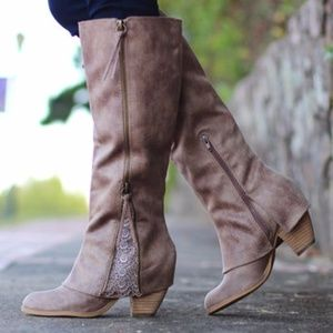 Not Rated | Spiffy Lace Block Heel ZIP Up Boots